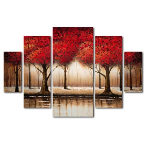 Cheap 7 Piece Dining Room Sets by Trademark Art Parade Of Red Trees By Rio Framed 5 Piece