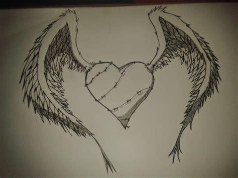 imagenes a lapiz de corazones con alas dibujos corazones con alas a lapiz imagui