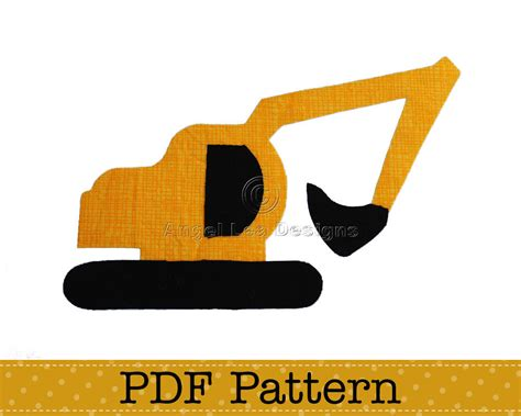 digger cake template excavator applique template diy children pdf pattern by