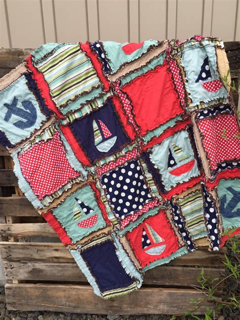 Nautical Crib Quilt by Boy Rag Quilt Nautical Baby Quilt Mint By