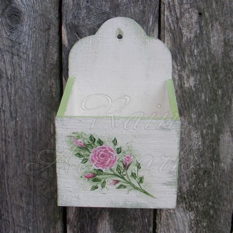 Primitive Wall Box White Cottage Chic Roses Shabby Green Paint Shabby Chic Green Paint