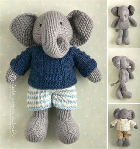 knit animal sweater pattern toy knitting pattern for a boy elephant in a textured sweater