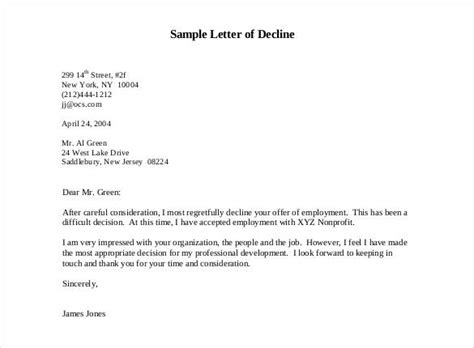 sle rejection letter sle letter declining an invitation to 1599