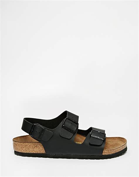 birkenstock sandals black lyst birkenstock sandals in black