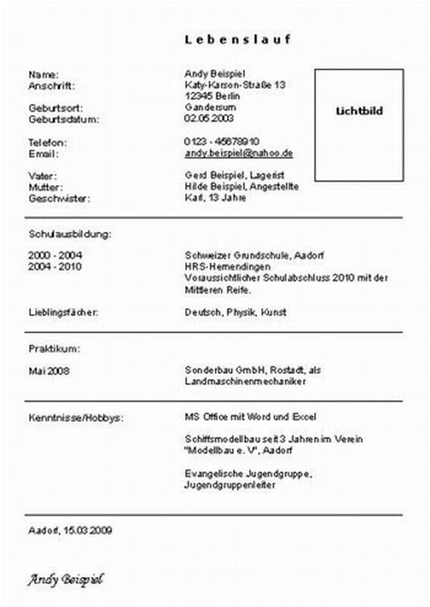 Lebenslauf Bewerbung Realschule Lebenslauf Vorlage Sch 252 Ler Dokument Blogs