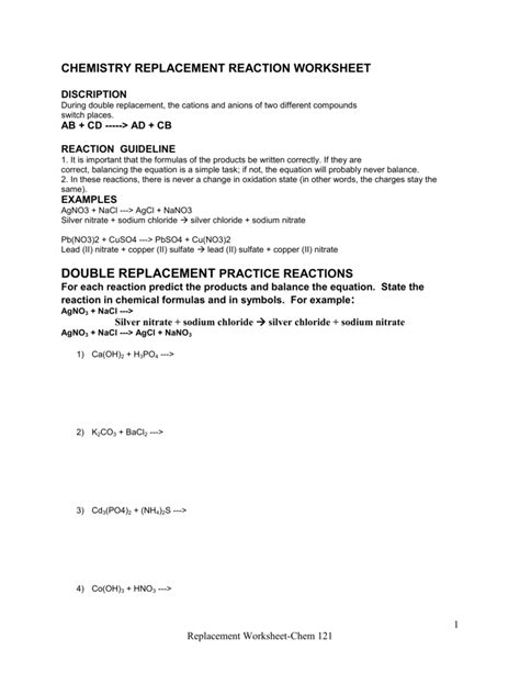 worksheet 4 single replacement reactions answers single replacement reaction worksheet worksheets