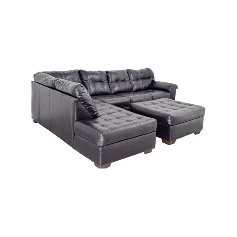 black leather sectional with ottoman 77 off black leather tufted sectional sofa and ottoman