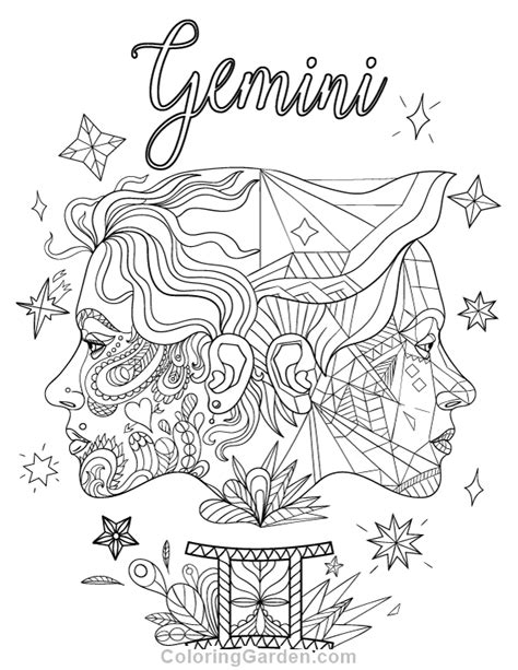 printable zodiac coloring pages gemini adult coloring page
