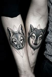 dotwork wolf and fox couple tattoo best tattoo ideas gallery
