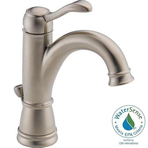 delta bathroom faucets brushed nickel delta porter single hole single handle high arc bathroom