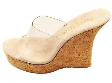 tony shoes w541 high heel cork wedge platform slides