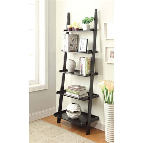 bookcase ladders convenience concepts american heritage 5 shelf ladder