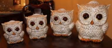 owl kitchen canisters vintage two sided ceramic owl canisters set of 4