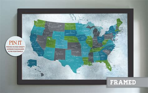 usa map framed detailed map 30x45 inches world travel