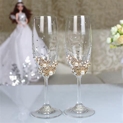 decoracion de copas para brindis copas de los novios