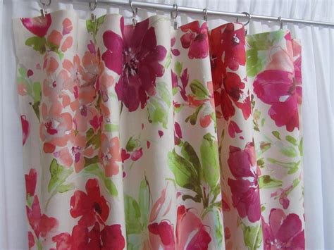 Pink Floral Curtains Watercolor Floral Curtain Panels Pink Floral Drapes Linen
