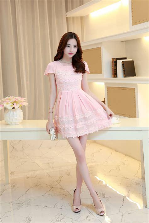 Dress Forever Koreanstyle korean fashion lace split sleeve beading pink dress