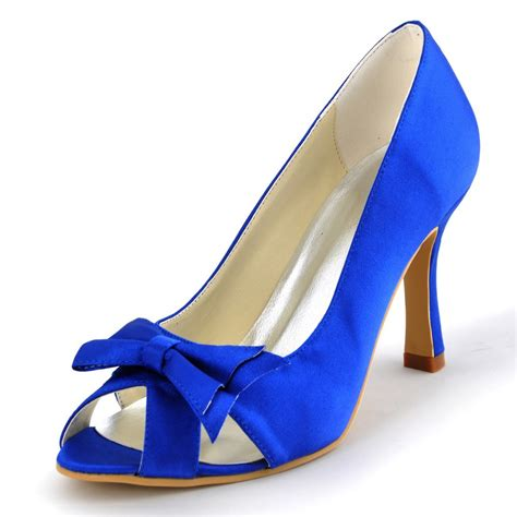 blue a3055 peep toe bow cut outs 3 5 quot s high heel
