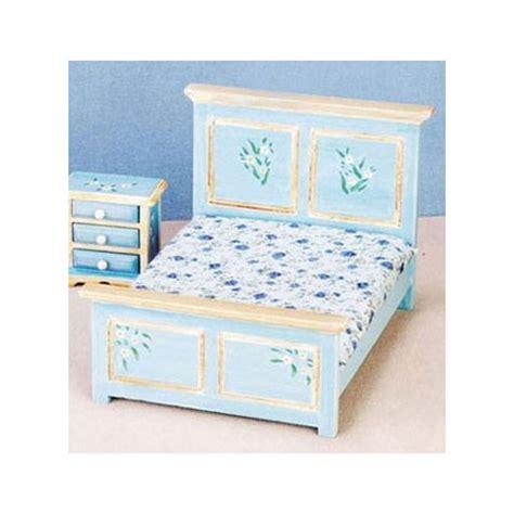 miniature dollhouse bedroom furniture miniature blue double bed dollhouse bedroom furniture