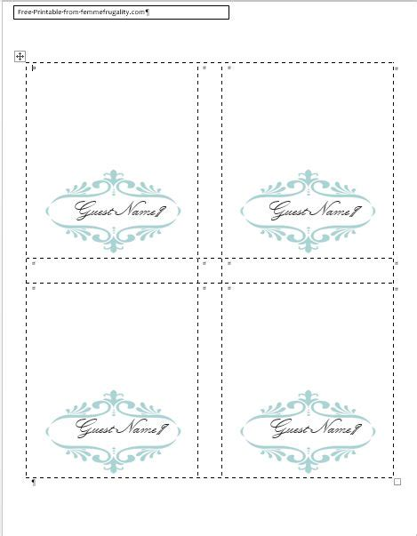 Table Card Template by Table Name Cards Template Beneficialholdings Info