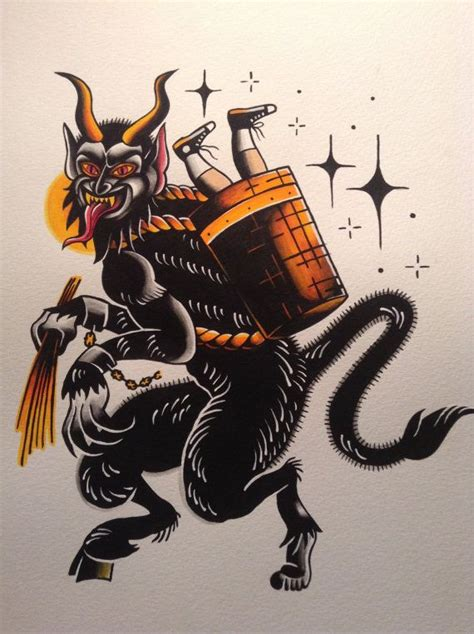 krampus flash print flash tattoos tattoo and etsy