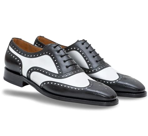 handmade black and white wingtip formal shoes mens
