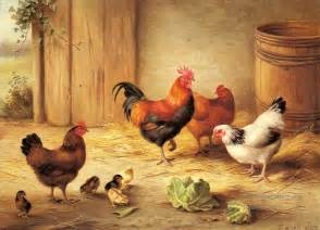 Chickens in a barnyard farm animals edgar hunt art for sale by artists