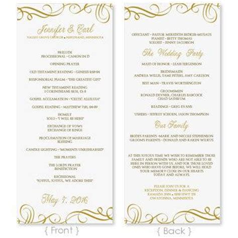 Wedding Program Template Download Instantly Edit Yourself Elegant Swirls Gold Tea Length Microsoft Word Wedding Program Template