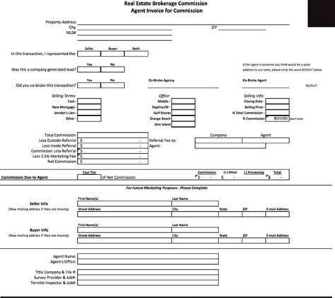 real estate brokerage bill receipt format word microsoft excel template  software