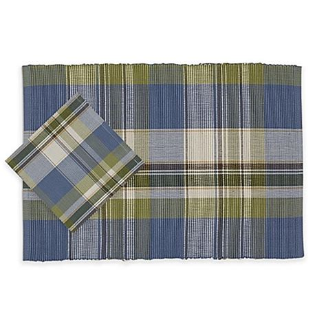bed bath and beyond napkins lake house plaid placemat and napkin collection bed bath