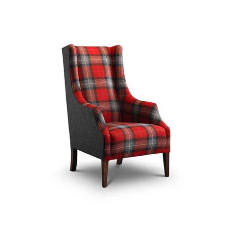 balthasar modern wing chair in moon wool plaid fabric