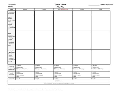 6th sixth grade weekly lesson plan template w florida