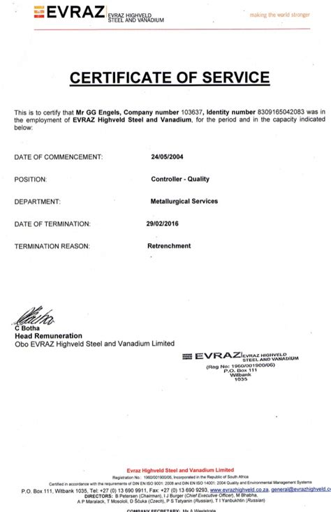 service certificate certificate of service retrenchment