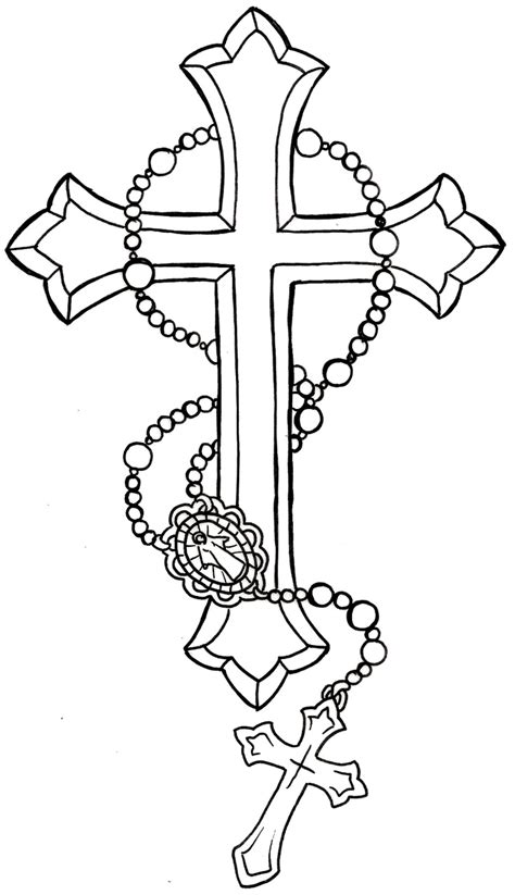 cross tattoo flash art cross with rosary by metacharis on deviantart