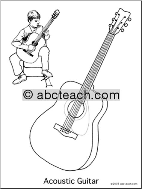 acoustic guitar coloring page coloring page acoustic guitar abcteach