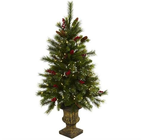 artificial decorative trees for the home 4 tree with berries pine cones led lights and decorative urn traditional