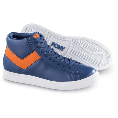 pony mens athletic shoes s pony 174 top 77 mids blue orange 94226