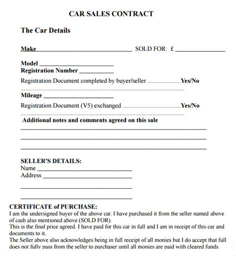 sle of private used car sale contract form and letter