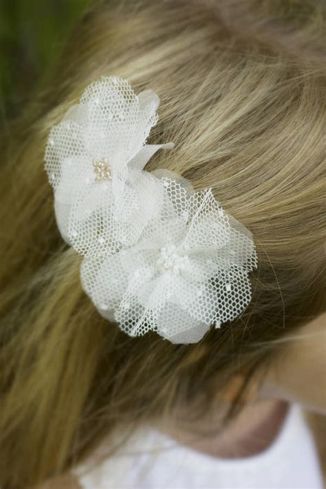 hair flower clip bridal wedding flower girl tulle silk ellie beaded tulle silk flower hair clip by lovebysusie