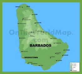 Barbados World Map by Barbados Physical Map