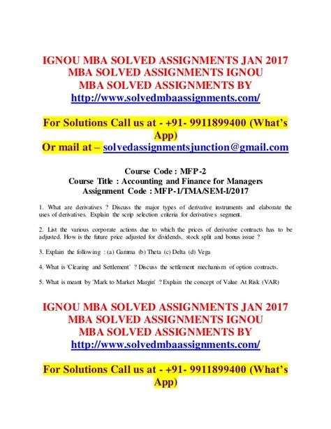 Ignou Assignment Mba June 2015 by Ignou Mba Solved Assignments Free