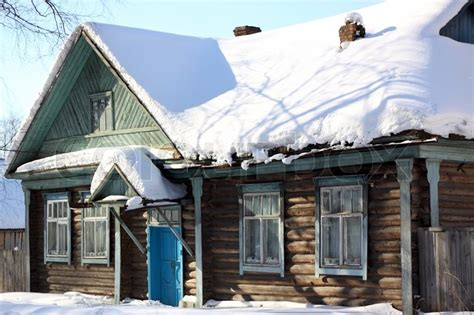 home in russian wooden rural house in russia stock photo colourbox