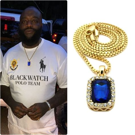 ICED OUT BLUE PENDANT GOLD CHAIN NECKLACE HIPHOP RICK ROSS