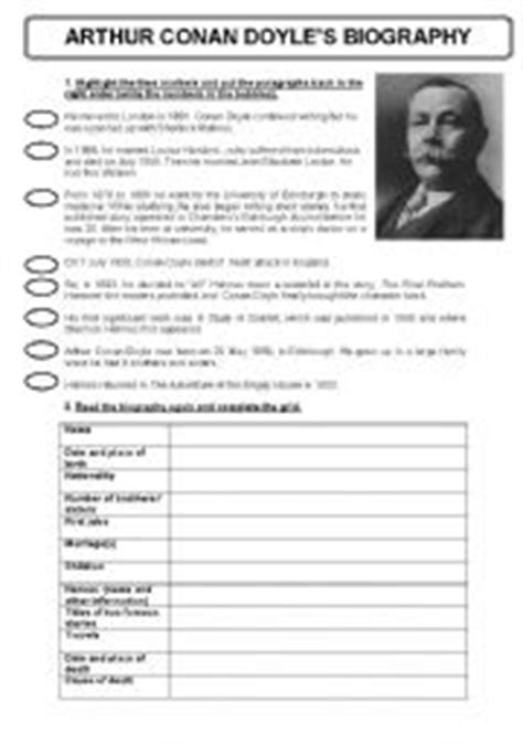 esl biography exercise english exercises conan doyle