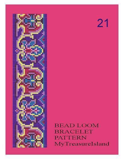 the glass bead pdf bead loom vintage motif 18 21 22 multi color bracelet