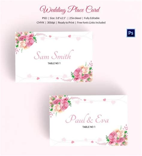simple wedding table cards template wedding place card