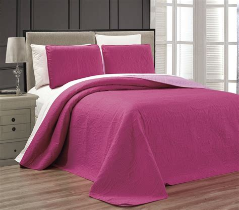 pink coverlet queen embossed pink medallion reversible bedspread quilt set