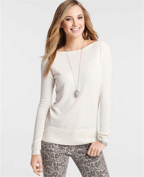 merino wool boatneck sweater lyst ann taylor petite merino wool blend boatneck
