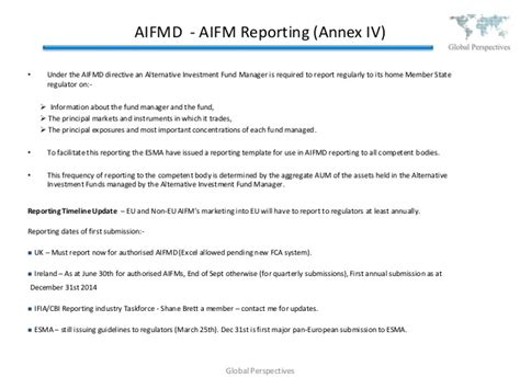 aifmd reporting template global fund regulation update summer 2014