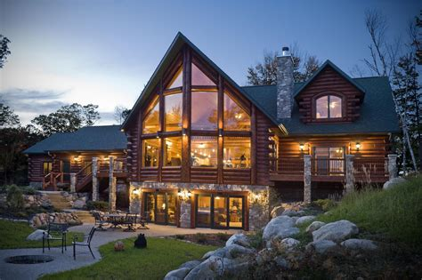 Luxury architecture design log home made from stone and